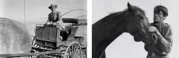 Jesse, left, brings Pearl to the ranch via horse-drawn carriage; meanwhile, Lewt woos her with good old-fashioned horse tricks