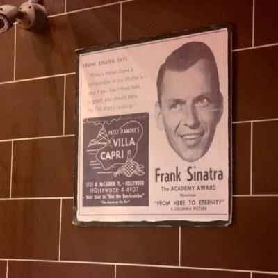 A vintage Villa Capri ad congratulating Frank on his Oscar nomination